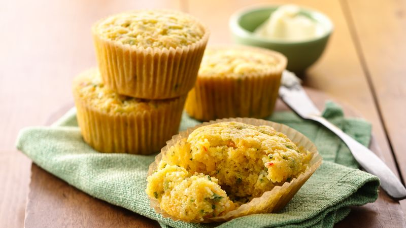 Beer and Chile Cornbread Muffins