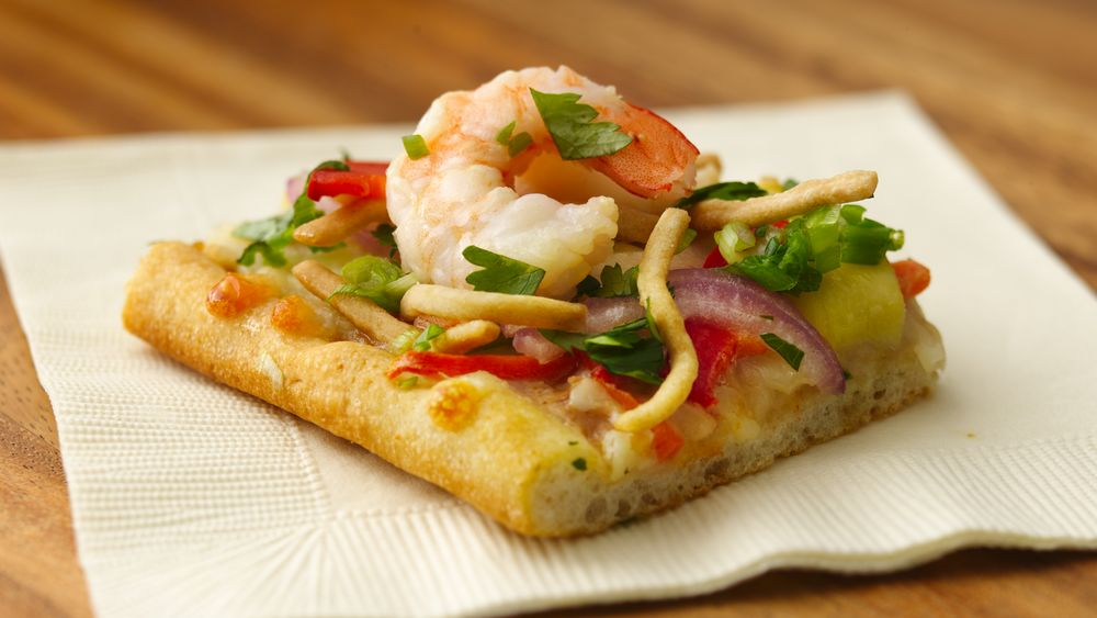 Tasty Thai Shrimp Flatbread Squares