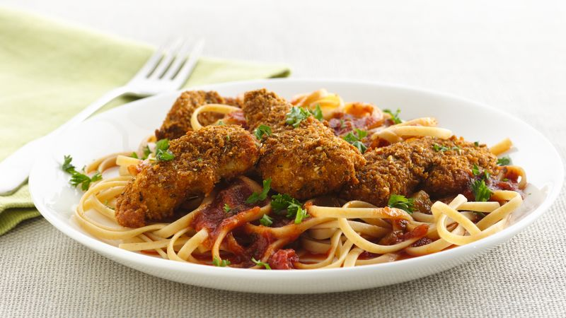 Chicken Parmesan with Linguine