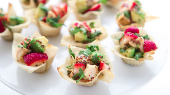 Chicken, Strawberry and Avocado Wonton Cups