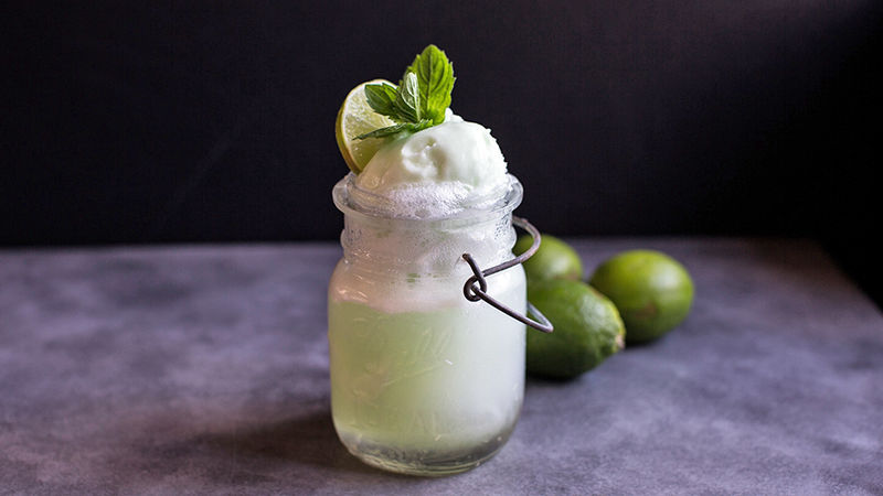 Boozy Lime Sherbet Floats