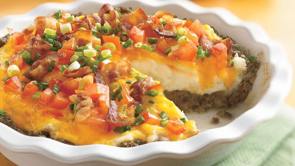 Ground Beef and Twice-Baked Potato Pie