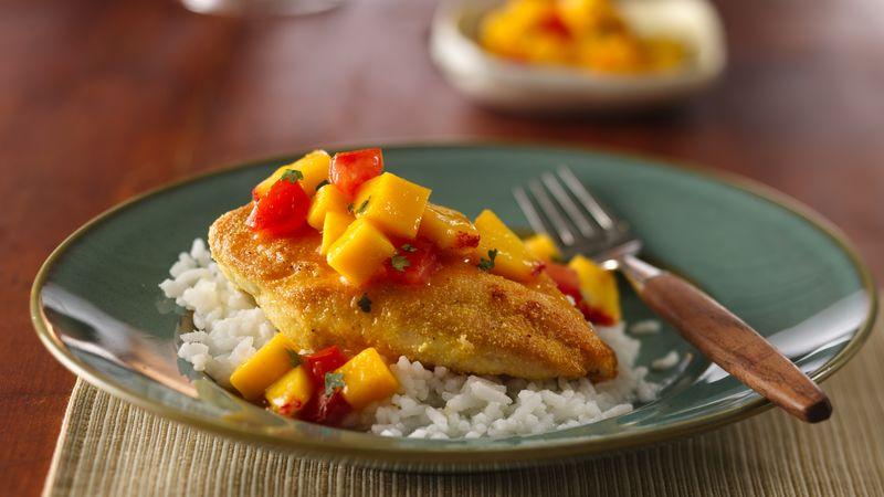 Crunchy Cornmeal Chicken with Mango-Peach Salsa