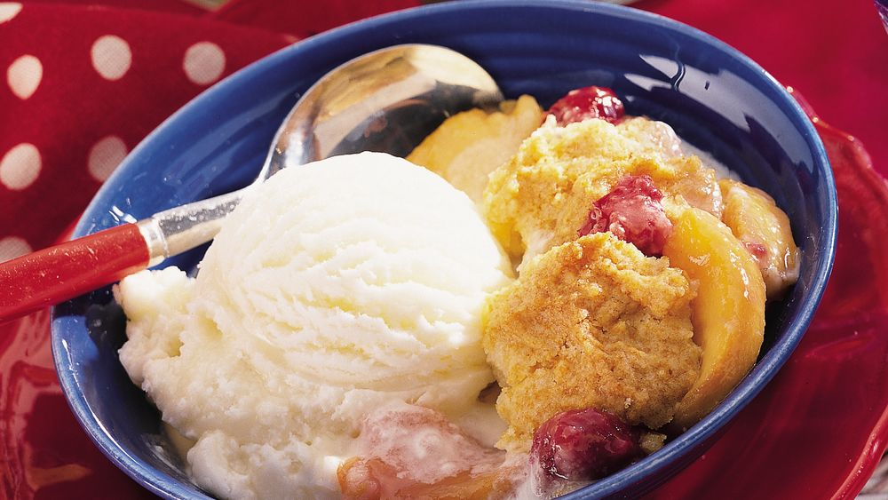 Fresh Peach and Raspberry Cobbler