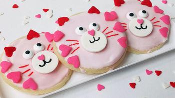 Valentine's Day Cat Cookies