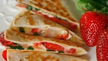 Brie, Basil and Strawberry Quesadillas