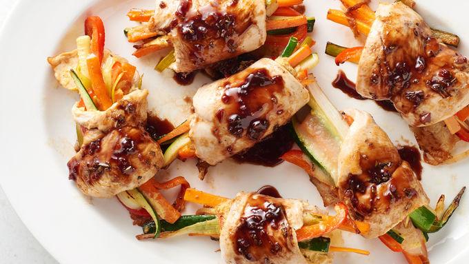 Balsamic-Glazed Cheesy Chicken Rolls