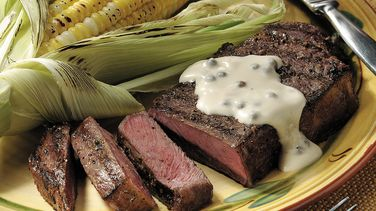 New York Strip Steaks with Peppercorn Sauce