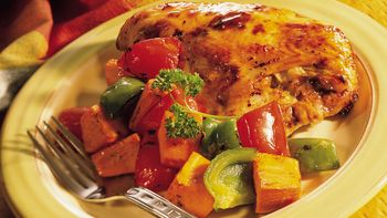 Glazed Roasted Chicken with Sweet Potatoes