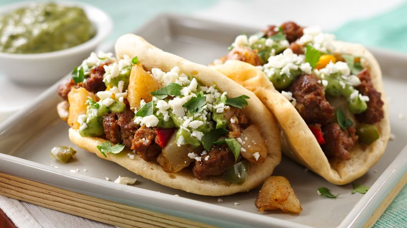 Chorizo Potato Puffy Tacos