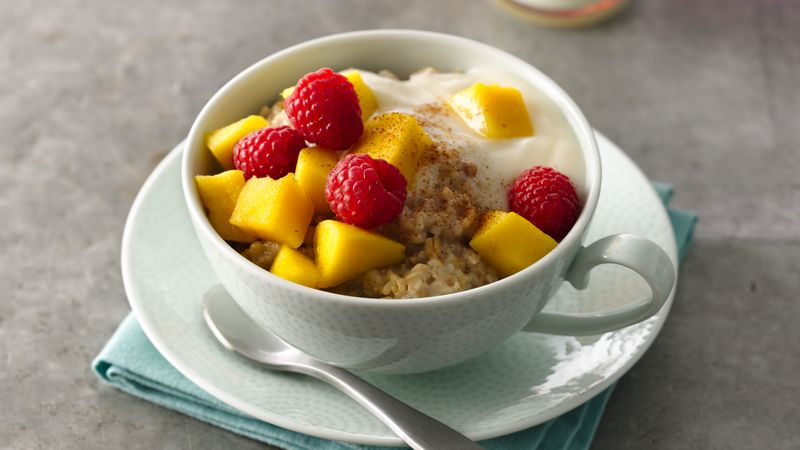 Caribbean Steel Cut Oats with Fruit and Yogurt