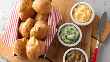 Mini-Popovers with Flavored Butter Trio recipe from Betty Crocker