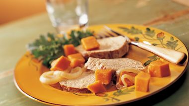 Slow-Cooker Garlic Pork Roast and Sweet Potatoes