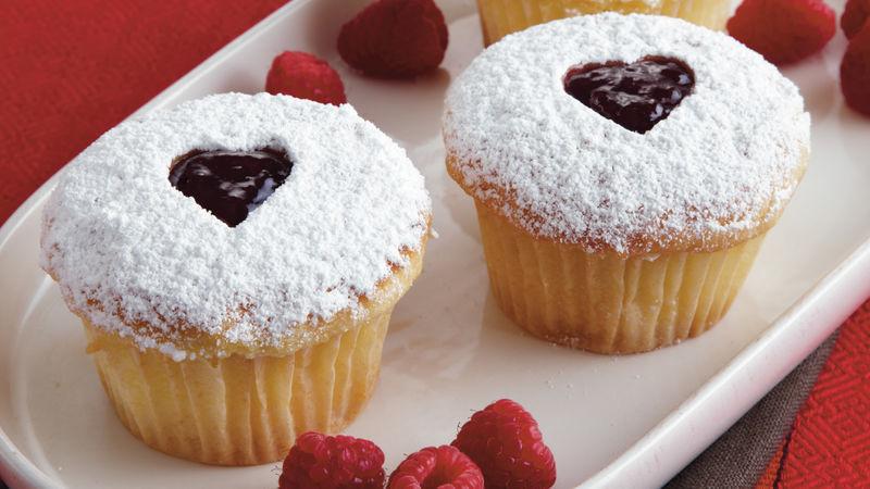 Raspberry Linzer Cupcakes