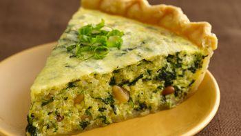 Pesto-Quinoa-Spinach Quiche