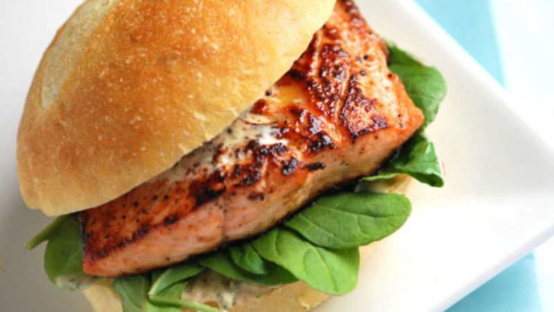 Grilled Salmon Sandwiches with Chipotle Mayo recipe - from Tablespoon!