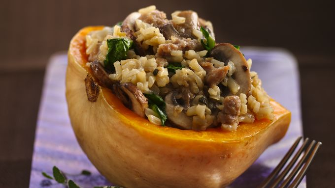 Brown Rice Stuffed Butternut Squash