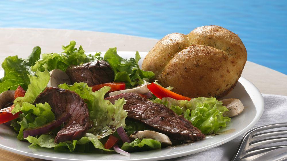 Grilled Steak Salad with Dinner Rolls
