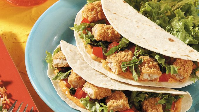 Zesty fish stick tacos recipe from tablespoon for Fish tacos with fish sticks