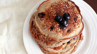 Whole Grain Blueberry and Banana Pancakes