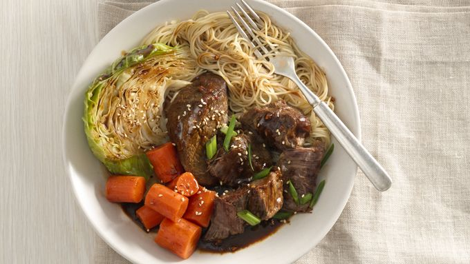 Slow-Cooker Asian Beef Roast with Cabbage and Pasta