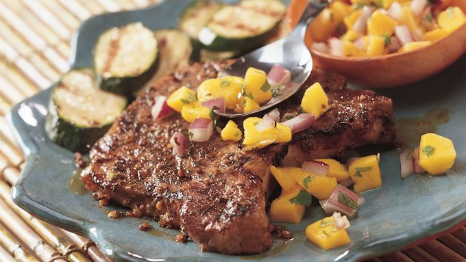 Grilled Jamaican Jerk Pork Chops with Mango Salsa