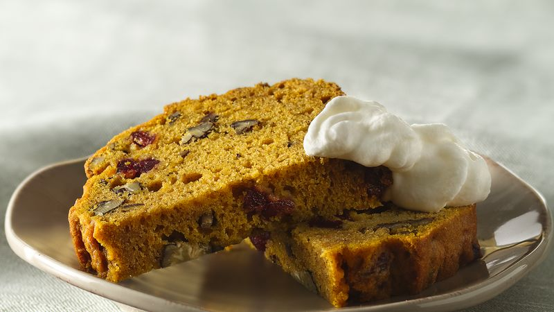 Pumpkin-Cranberry Pecan Bread with Tipsy Whipped Cream