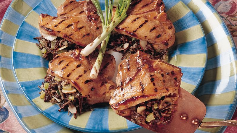 Grilled Wild Rice-Stuffed Pork Chops