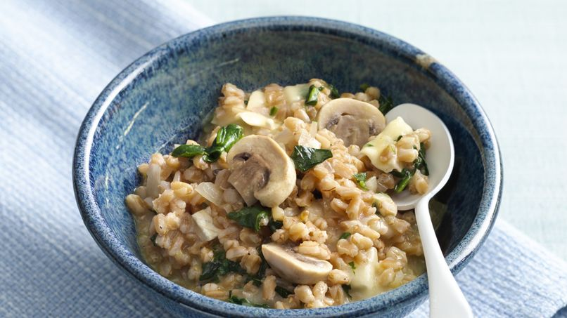 Farro Risotto with Spinach, Mushrooms and Brie