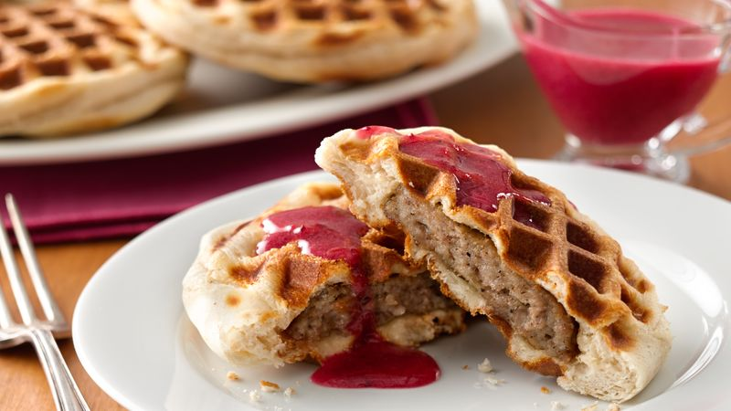 Sausage Stuffed Biscuits with Cranberry Sauce