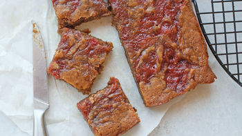 Strawberry-Rhubarb Swirl Blondies