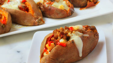 Ground Beef Stuffed Sweet Potatoes
