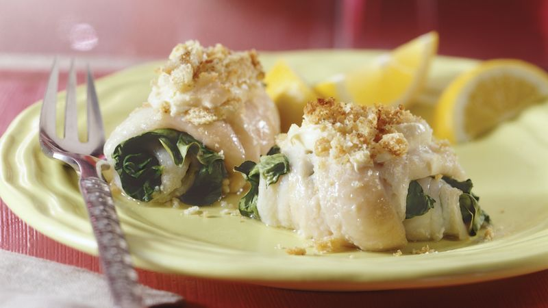 Spinach-Filled Fish Rolls