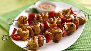 Grilled Chicken Kabobs with Thai Peanut Sauce