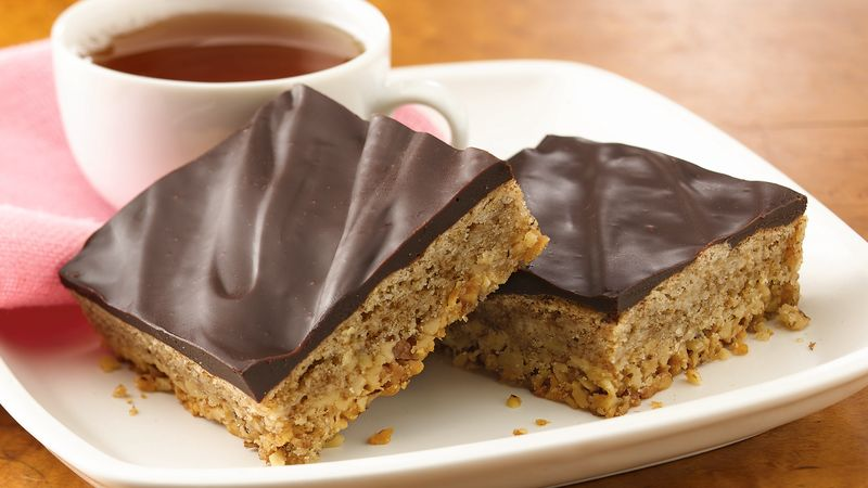 Mocha-Walnut Bars with Dark Chocolate Ganache