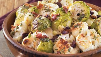 Roasted Brussels Sprouts and Cauliflower with Bacon Dressing