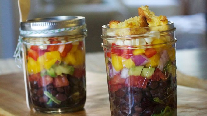 Layered Mexican Cornbread Salads