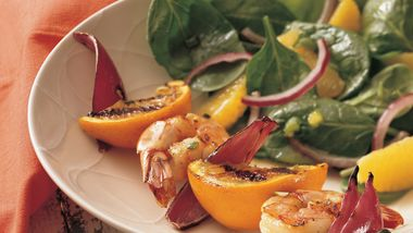 Grilled Shrimp Kabobs with Orange Spinach Salad