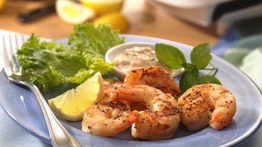 Shrimp with Lemon-Basil Mayonnaise