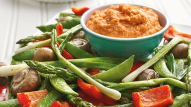 Roasted Vegetables with Roasted Pepper Hummus