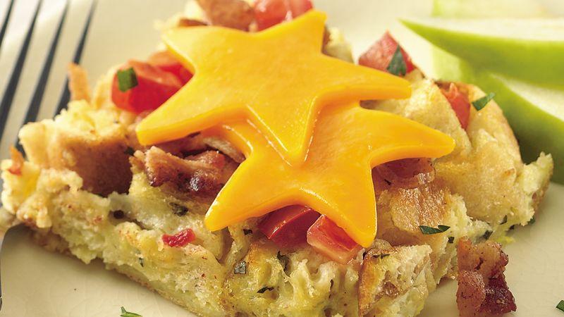 Bacon, Cheese and Tomato Strata