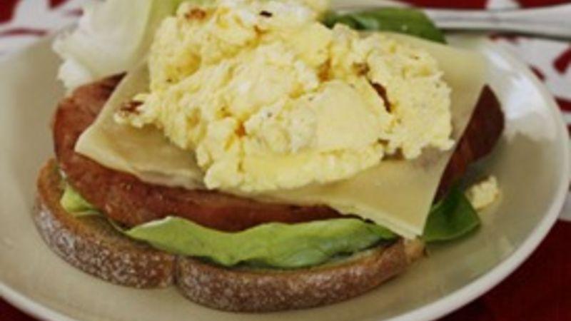 Ham, Egg and Swiss Breakfast Stack