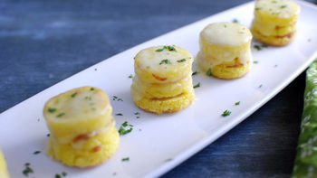 Polenta Ham and Cheese Stackers