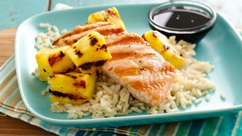 Grilled Salmon and Pineapple with Maple Soy Sauce