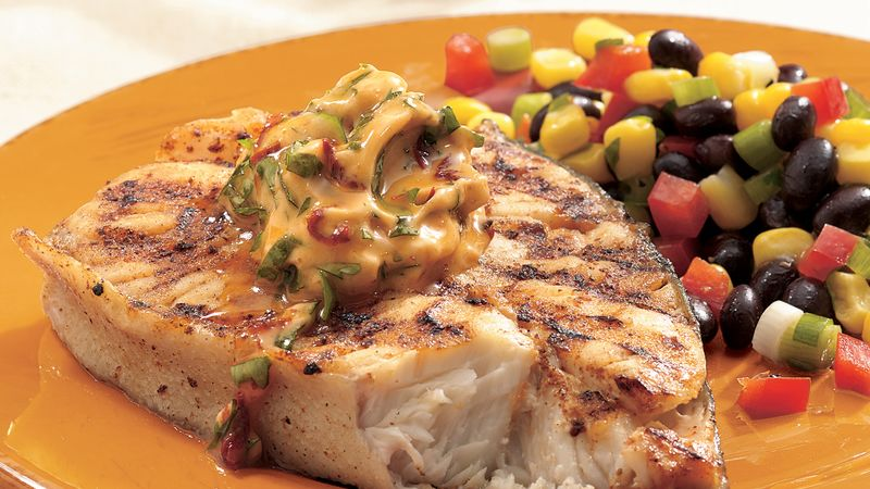 Grilled Halibut with Chipotle Butter recipe from Betty Crocker