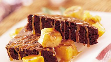 Tropical Turtle Brownies with Grilled Fruit