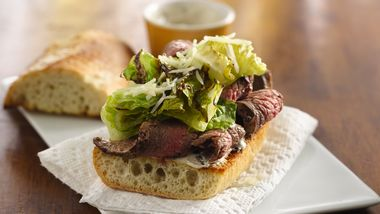 Grilled Caesar-Flank Steak Sandwiches