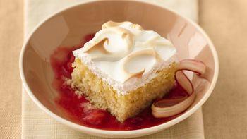 Lemon Meringue Cake with Strawberry Rhubarb Sauce