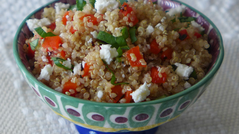 Roasted Red Pepper and Goat Cheese Quinoa Salad