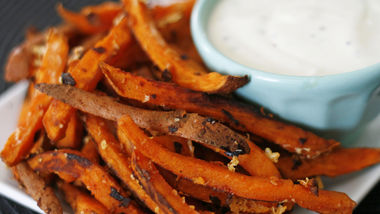 Garlic Romano Sweet Potato Fries